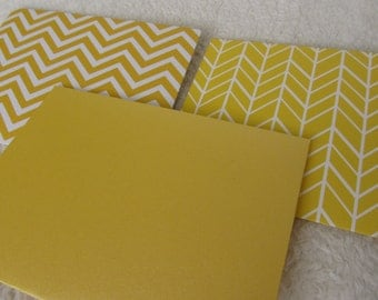"Yellow and blue notecard set, handmade, 4.25"" x 5.5"""
