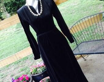 Vintage Oscar de la Renta, Vintage 1970's Oscar de la Renta, Oscar de le Renta Velvet Dress, Vintage 70's Velvet Dress