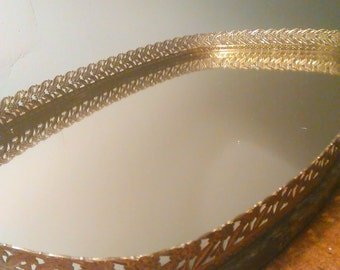 Vintage Gold Toned Floral Filigree Vanity Mirror Tray Oval Perfume Tray