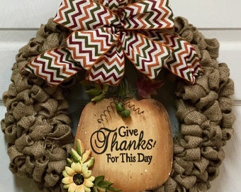 Fall Burlap Wreath- Burlap Wreath with Fall Sign- Autumn Wreath-Thanksgiving Wreath- Front Door Wreath-Ready to ship