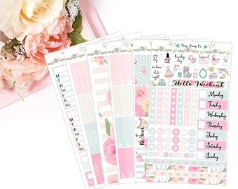 Vintage Beauty Planner Stickers / Floral stickers / Vintage /  vertical / Planner stickers