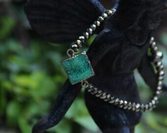 Envy - Green Druzi Pyrite - stretch bracelet