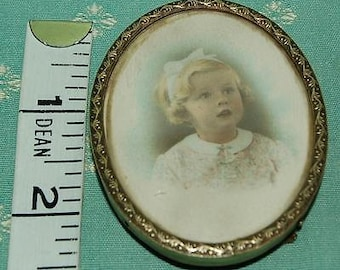 Small Oval Antique Brass Photo Frame with Original Photograph of Little Girl - c1930