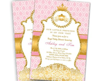 Princess, Royal Carriage, Doilies Baby Shower Invitations & Blank Thank You Card to match