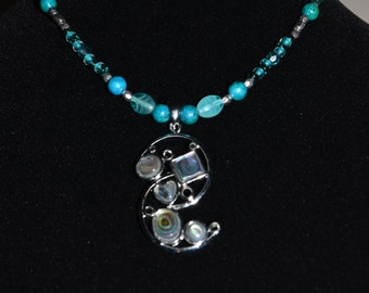 Blue Green Glass & Australian Jasper Stone Beaded Necklace with Abalone Shell Pendant