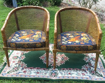 Vintage Barrel and Cane Chairs Two
