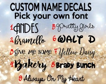 custom name decal, personalized name decal, name, name label, labels, decal, name sticker, personalized sticker
