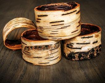 Set of 4 Birch Bark Napkin Rings