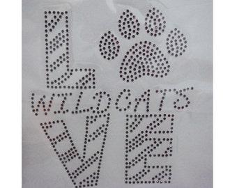 Kid Cute Vintage Purple Love Wildcat Kitty Cat Paw Animal Cartoon Disney Rhinestone Iron on Transfer Appliques Hotfix Design Motif Clothes