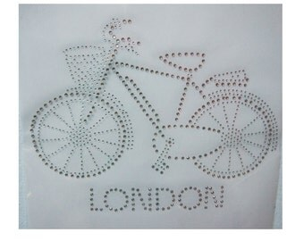 Vintage Cute Love Bike Bicycle Motorcycle London Cartoon Disney Rhinestone Iron on Transfer Appliques Biker Hotfix Motif Design for Clothes