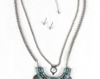 Lazy river layered necklace - silver