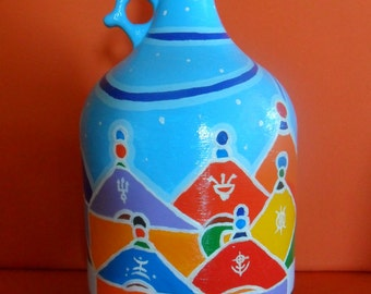Hand painted vase-glass Carboy with trulli