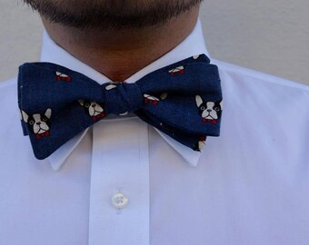 French Bulldog Self Tie Bow Tie - Made to Measure - Navy - Blue