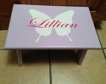 Personalized Stool, Little Kid Step Stool, Girl Step Stool, Butterfly