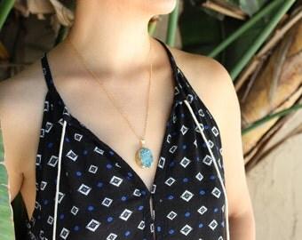 Blue Druzy Quartz Pendant Necklace