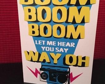 Boom boom boom greeting card