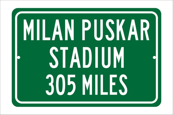 Custom College Highway Distance Sign to Milan Puskar Stadium | Home of the WVU Mountaineers |  Mountaineer Football | WVU Football
