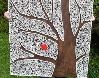 Tree String Art, Red Leaf, Reverse String Art, Tree art, Rustic wood, Motivational sign, Wall art