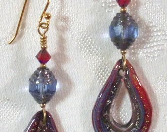 Earrings: Red/Blue Lampwork Glass Raindrops, Montana Blue & Gold Czech Glass Lanterns, Lt. Siam AB 2X Swarovski Crystals, 14K GP Ear Wires