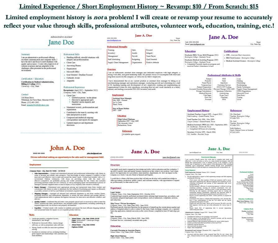 from scratch limited experience    short employment history