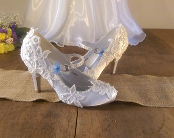 Handmade wedding shoes - lace, pearl and bead detailed