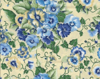 Pansy Fabric...Pansies With Shades of Blue on Yellow with Silver Lining