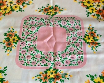 Vintage Irish table cloth circa 1960s/70s, 1960s/70a centre piece, Pink and Green flowers circa 1960s/70s