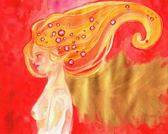 "Original artwork ""Marie III"" - painting with acrylic and watercolor"