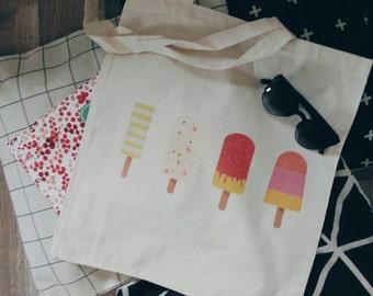 Cotton Canvas tote bag ice cream summer