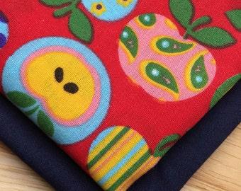 Double Bandana - Red Apples on Navy - Slip Over