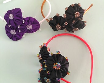 Handmade Beaded Three Flower Headband