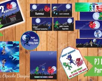 PJ Masks Birthday Party Kit | PJ Masks Birthday Decorations | DIY Printable Party Decorations