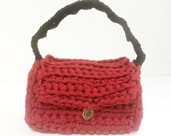 Crochet handbag - burgundy / maroon / dark red