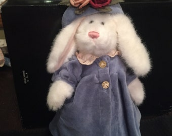 Boyds Bear Bunny with Blue Dress and Flowered Hat