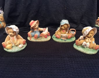 Cherished Teddies Lot of 4 - Spring with Animals Themed