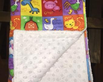 Farmyard pets & white minky dot baby blanket