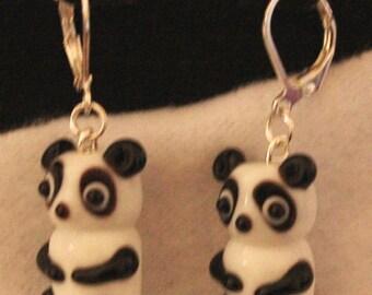 Black and White Panda Bear Earrings