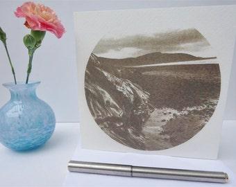 Atmospheric Scottish beach greeting card - Outer Hebrides I, adventure, nature, sepia, landscape, seascape, circle, photographic