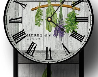 Unique Drying Herbs Pendulum Clock