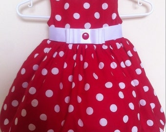 From 9M to 5T Red White polka dot cotton dress, baby-toddler. For any occasion. Handmade