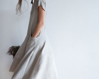 Natural Linen Dress with Asymmetric Skirt and Pockets