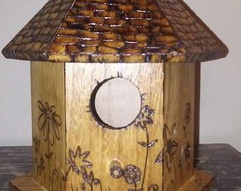 woodburned table top decorative bird house