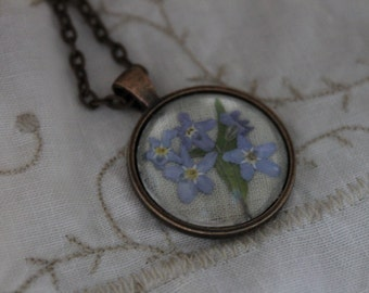 Forget-me-not copper pendant necklace on 30inch copper chain