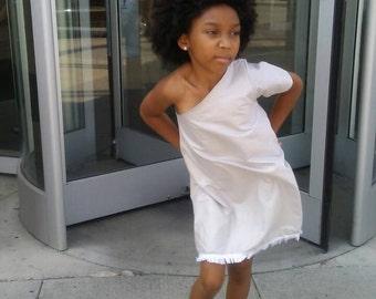 Little one shoulder dress cotton