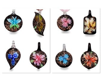Blown glass floral neclace pendants with chains