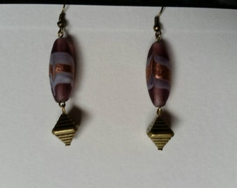 Purple and bronze beaded earrings