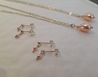 Bridesmaid Jewlry - 2 sets peach pearl