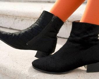 Black horse hair boots