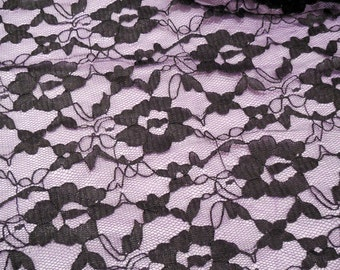 Black floral lace fabric / Dress sewing lace tulle fabric is for sale. Sold by Per 0.5 Meter