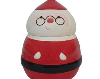 Hand Painted Santa Cookie Candy Jar St. Nicholas Square